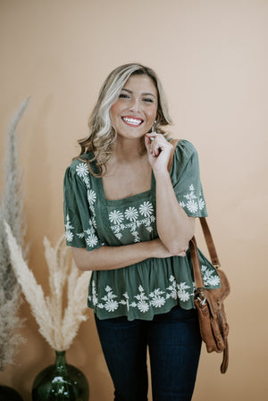 Kasha Embroidered Top, Olive