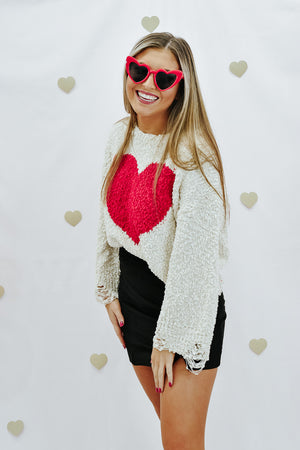 Hearts Away Destroyed Sweater