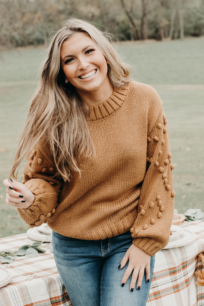Cross Your Heart Sweater , Camel