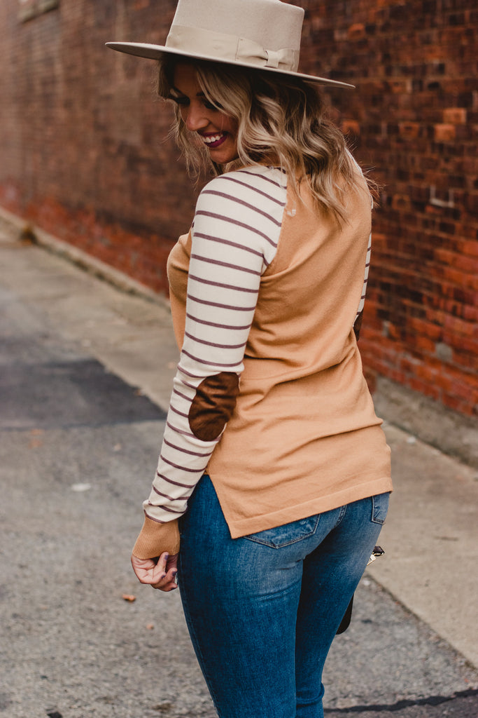 Cozy Camel Elbow Patch Sweater, Camel