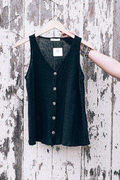All I Want Button Tank, Black