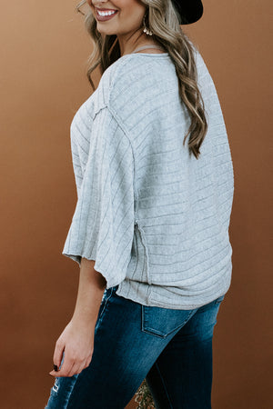 Ribbed Quarter Sleeve Sweater, Grey