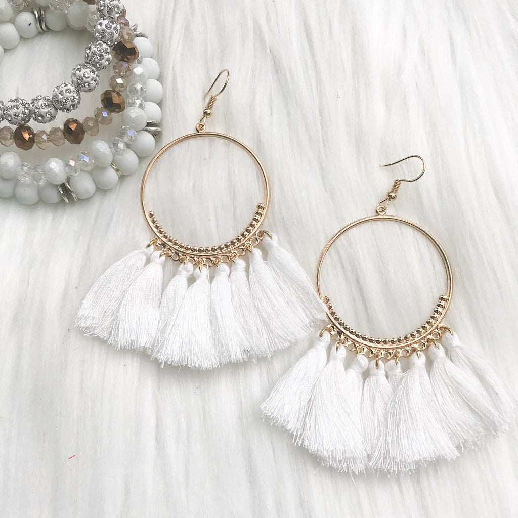 Frankie Fringed Earrings, White