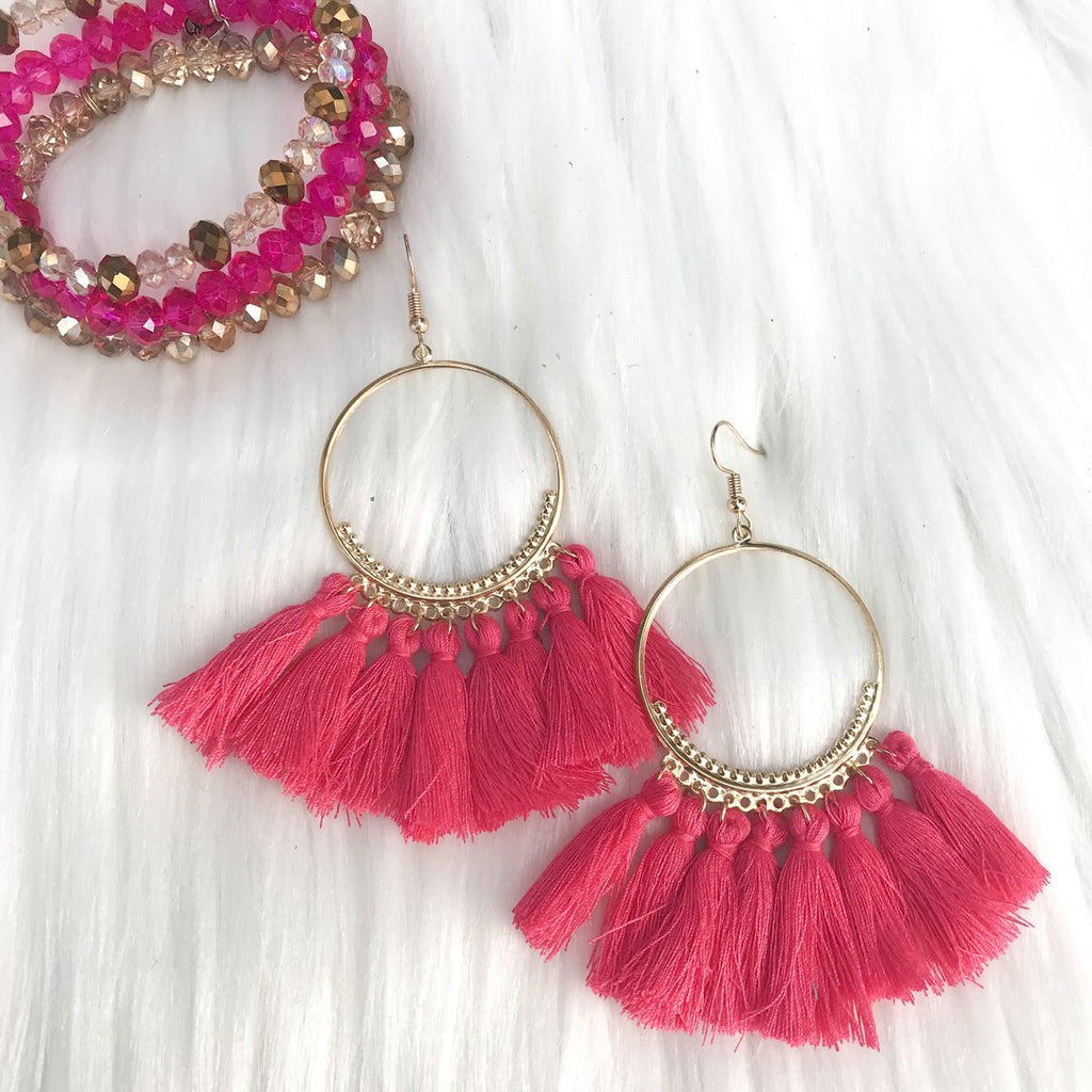 Frankie Fringed Earrings, Hot Pink