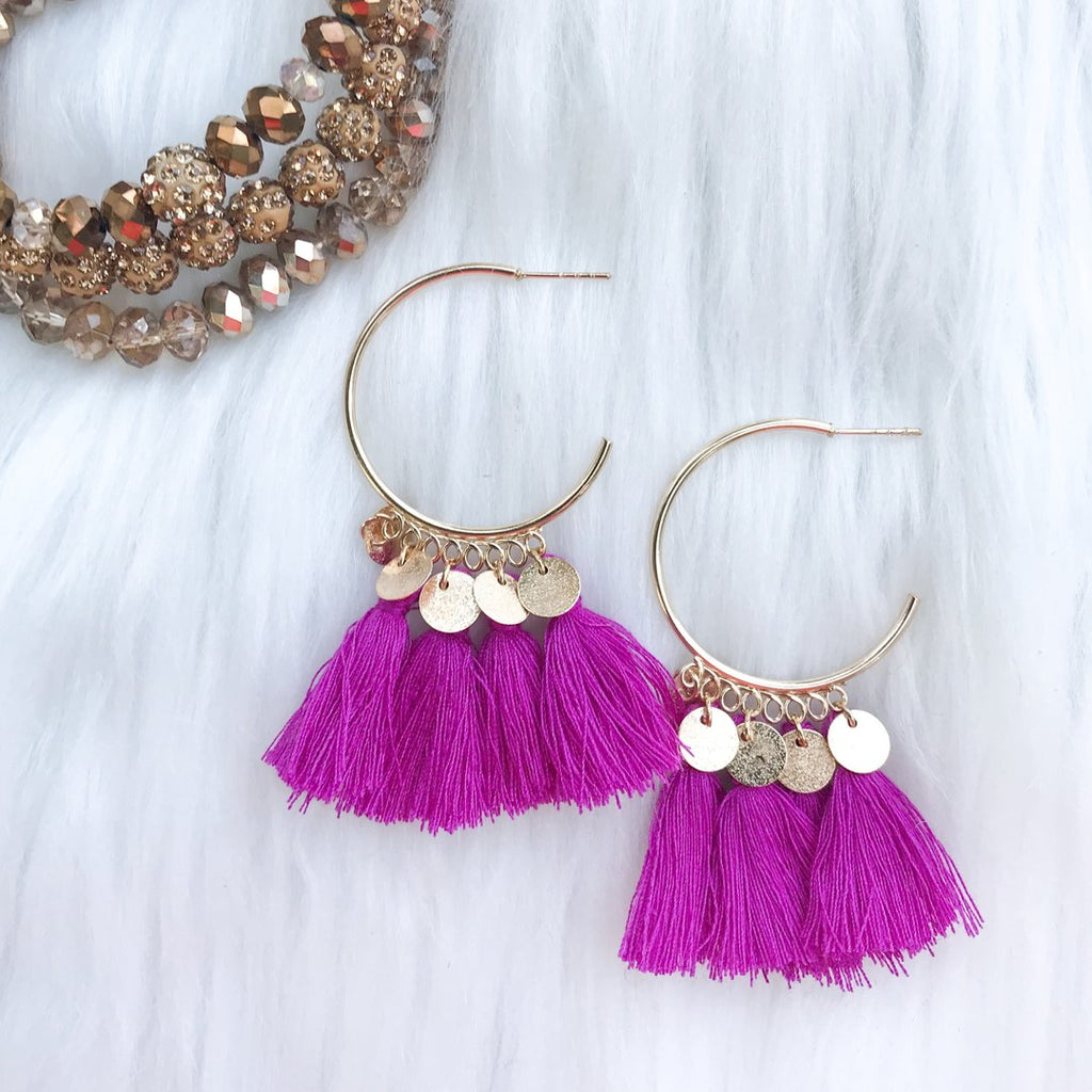 Esmeralda's 1/2 Hoop Earrings, Magenta