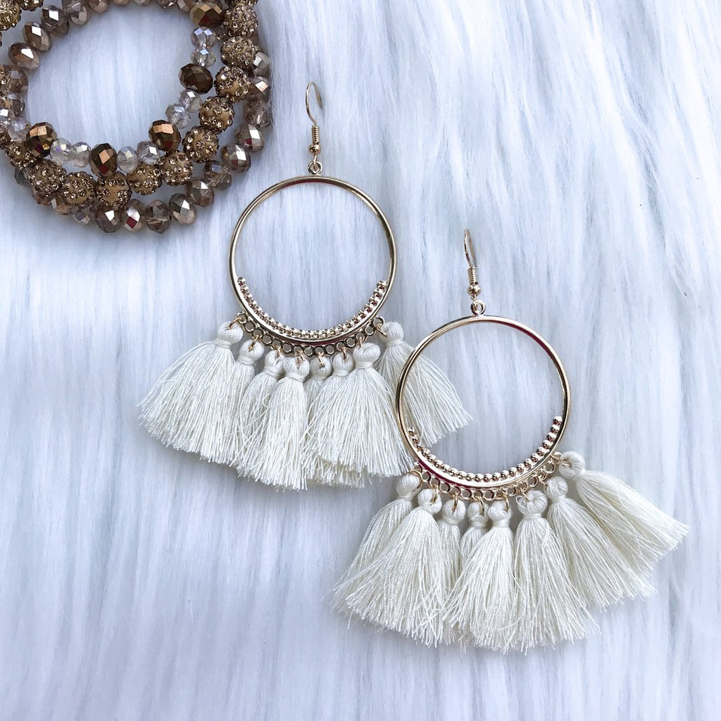 Frankie Fringed Earrings, Ivory