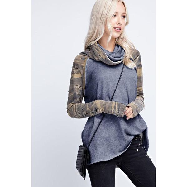 Distressed Camo Cowl Neck, Dark Grey