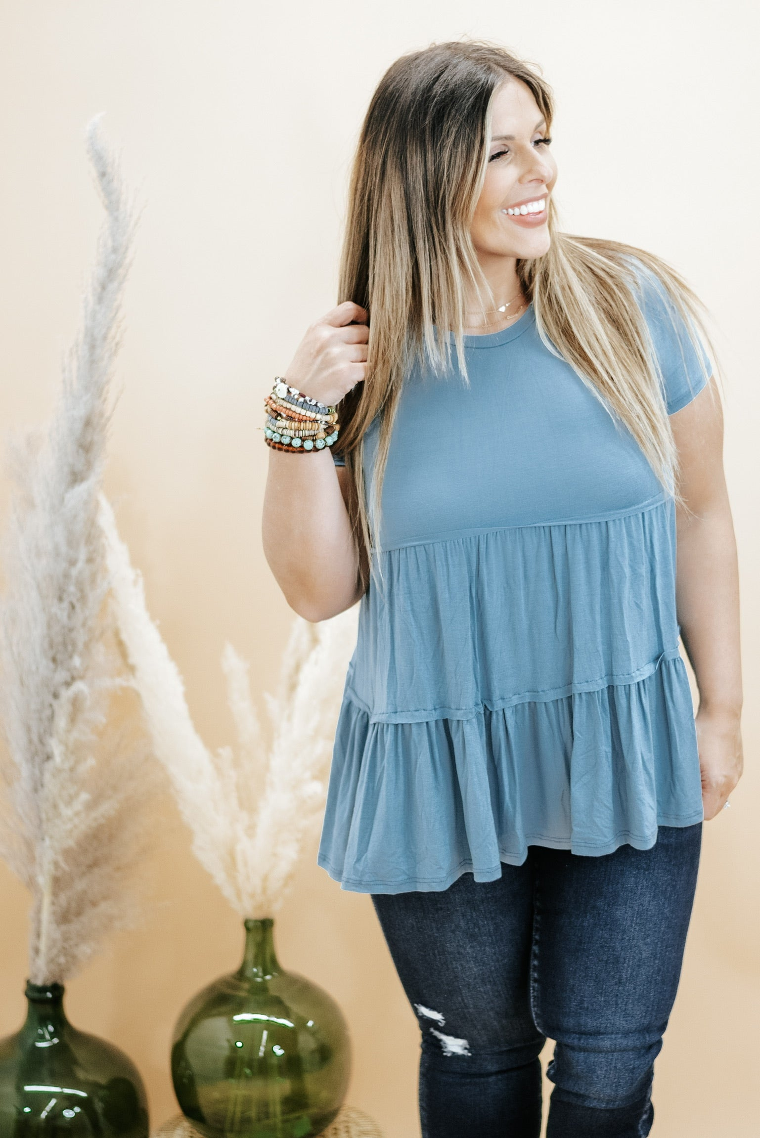 Basic Baby Doll Tunic Tee , Dusty Blue