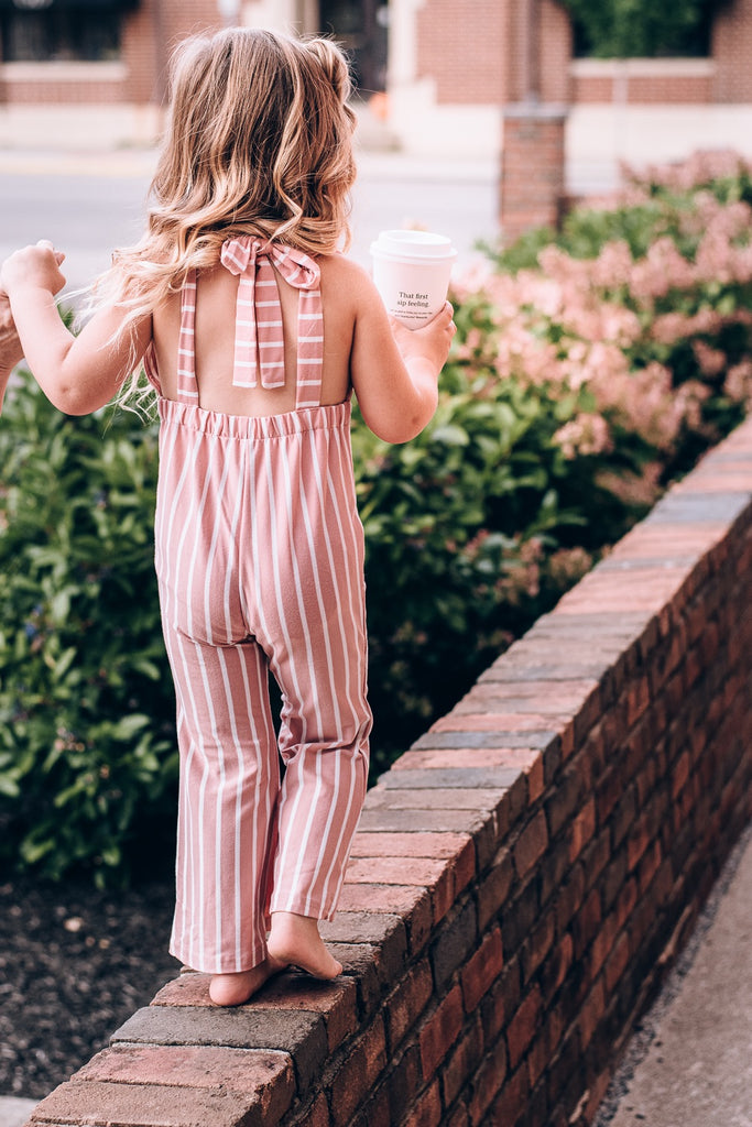 Suspender Bell Bottom Jumpsuit , mauve