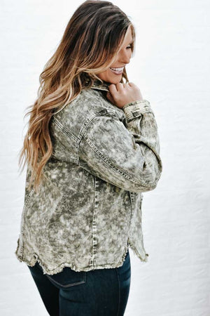 Grunge With Me Jacket, Bleached Olive