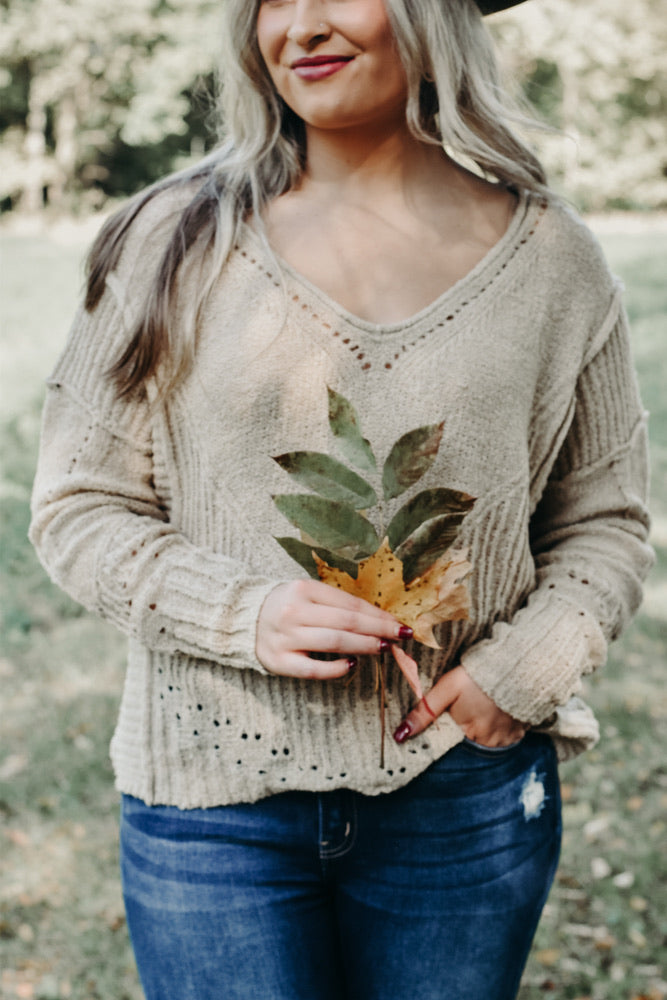 Boho Chic Sweater, Taupe