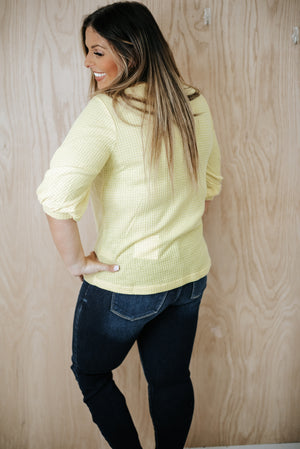 Button Necked Waffle Top, Yellow