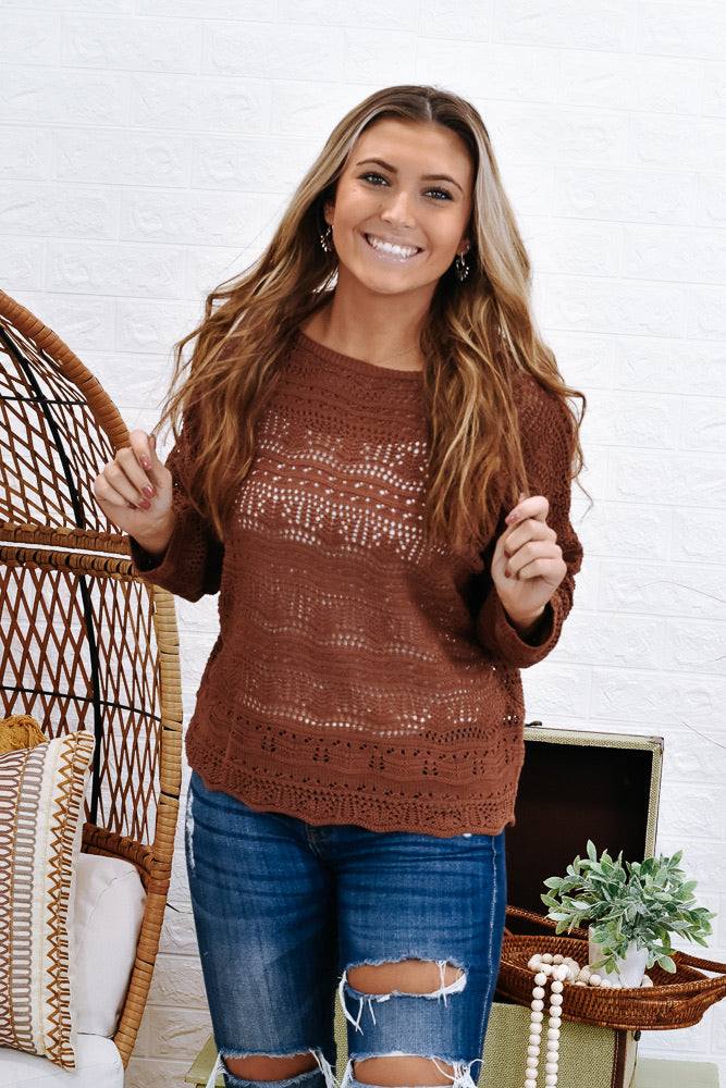 Call It What You Want Crochet Sweater, Rust