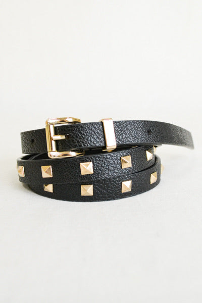 Studded Skinny Belt, Black