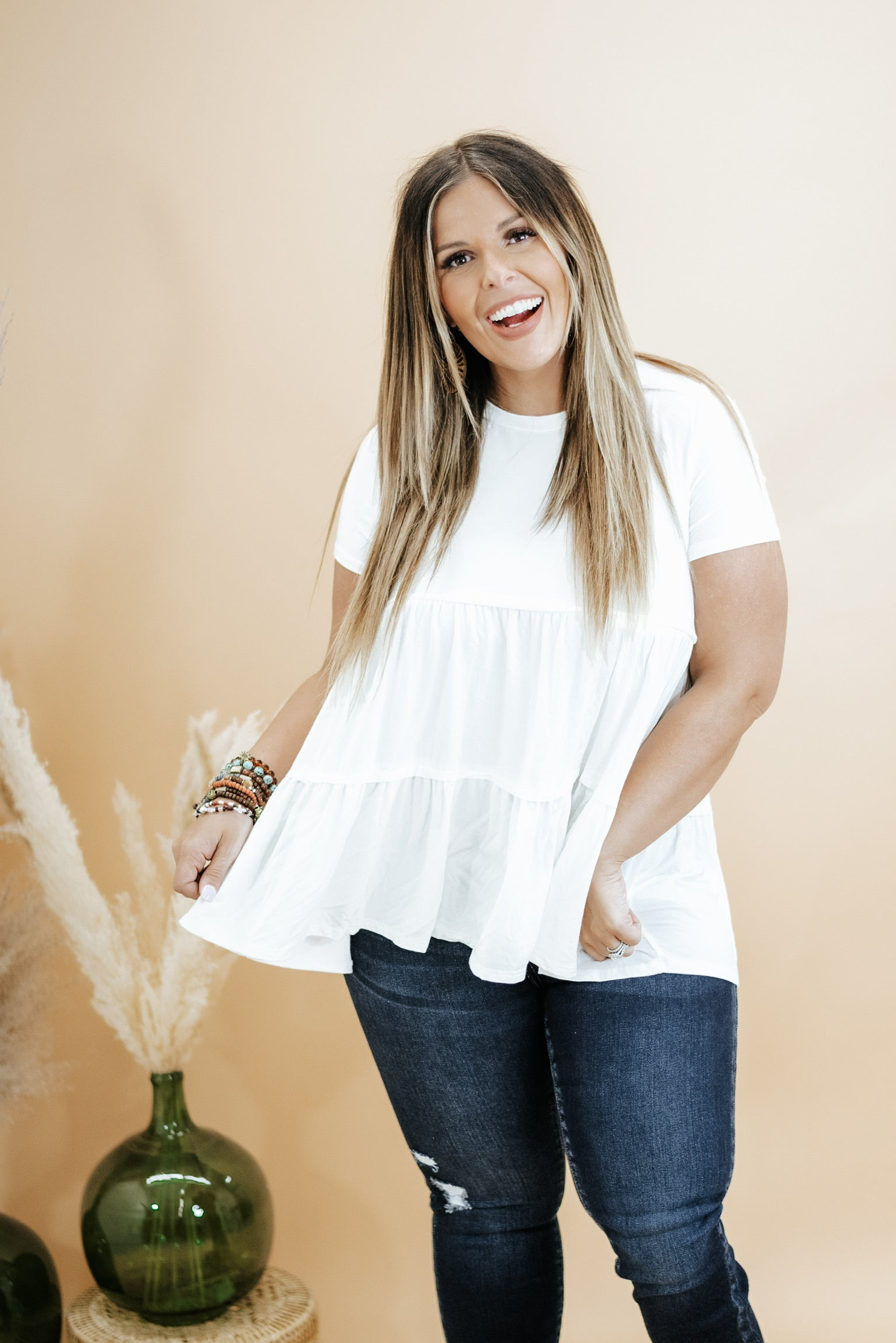 Basic Baby Doll Tunic Tee , Ivory
