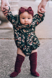 Oh My Darling Floral Romper , Juniper Green