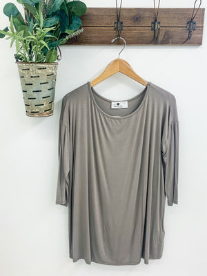 3/4 sleeve drop shoulder top, Taupe