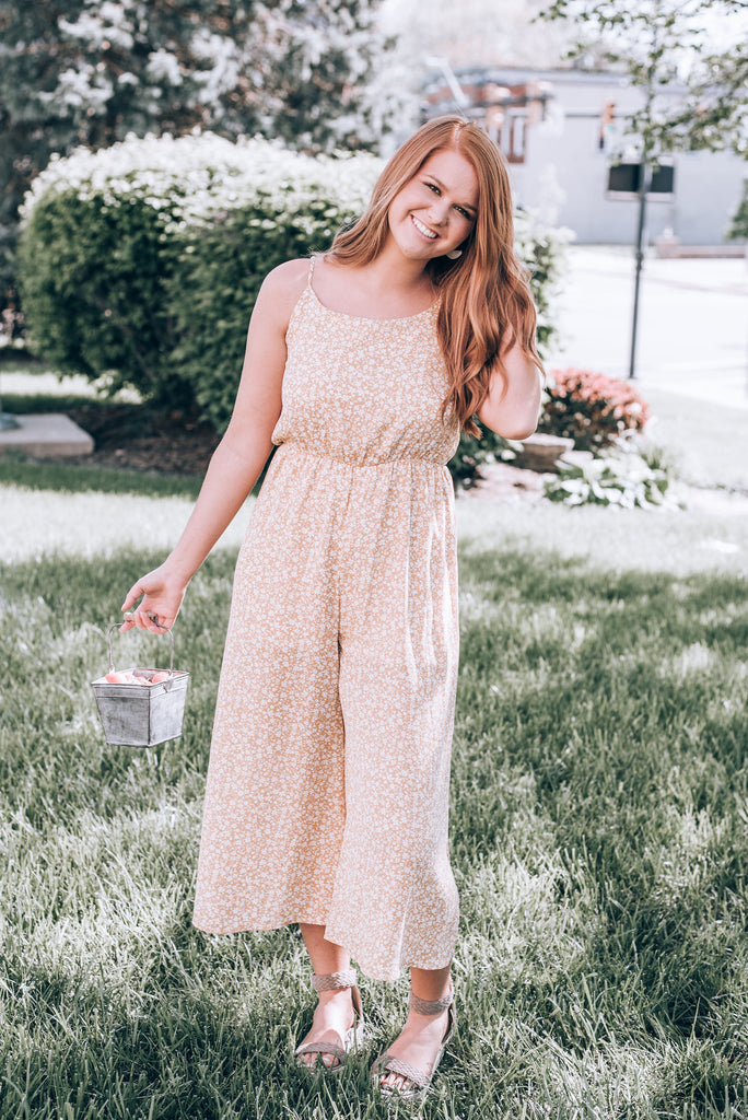 Looking For The One Floral Crop Jumpsuit, Mustard
