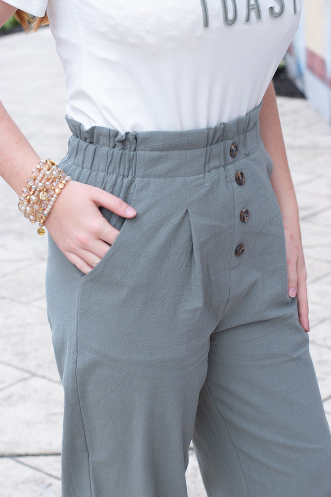 All The Time Wide Leg Pants , olive