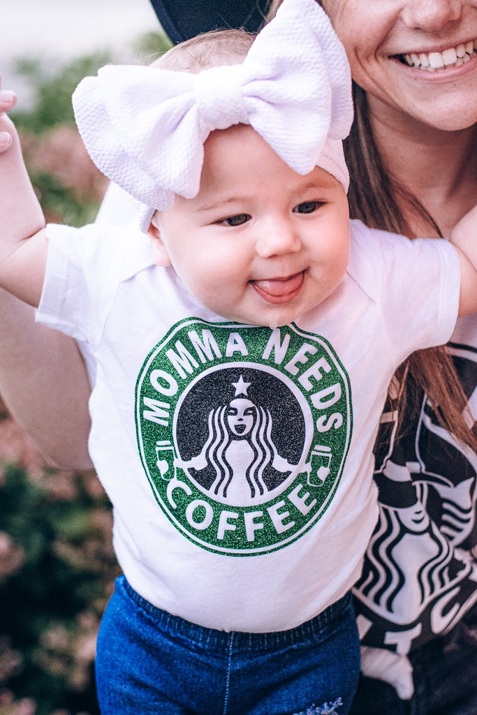 Momma Needs Coffee Onesie
