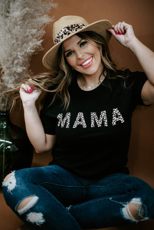 Leopard Mama Graphic Tee , Black