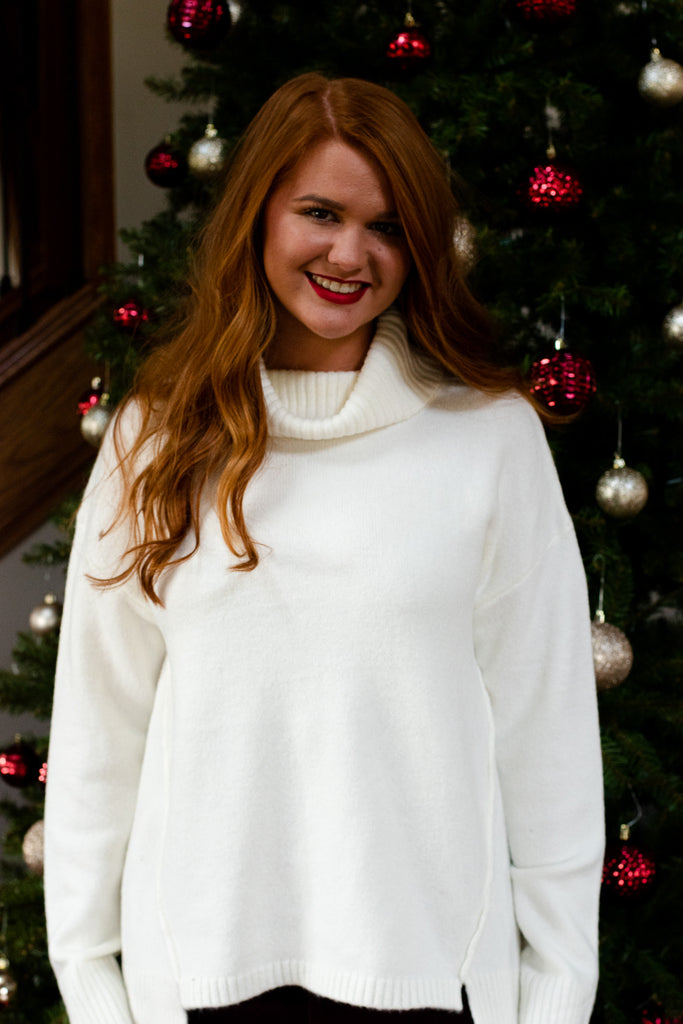 Chic For You Turtleneck Sweater, Ivory