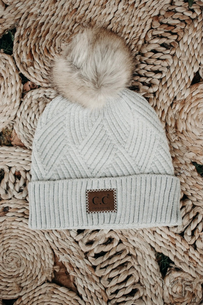 CC Leather Patch Beanie, Taupe