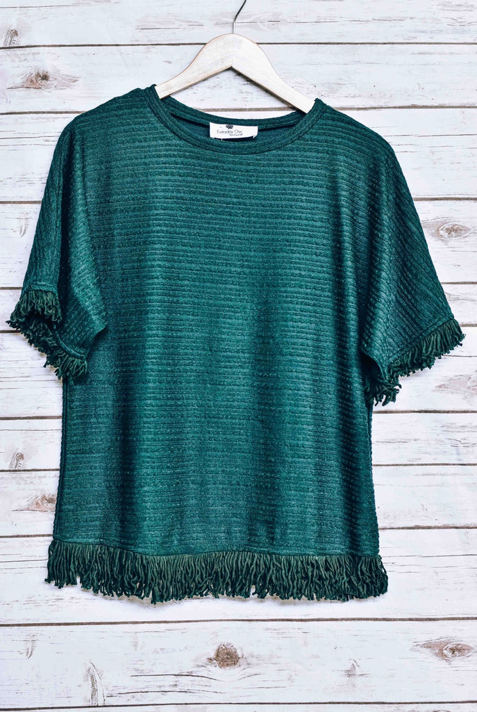 Frankie Fringe Knitted Top, Emerald