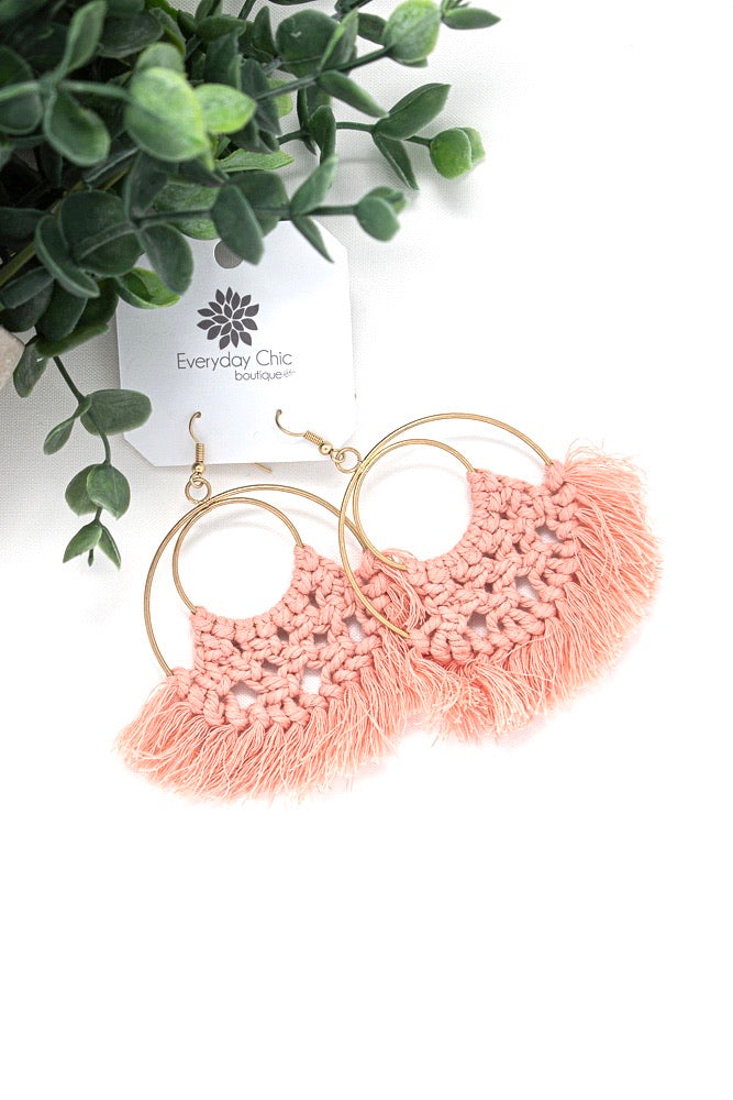 Threaded Fringe Circle Earrings, Coral