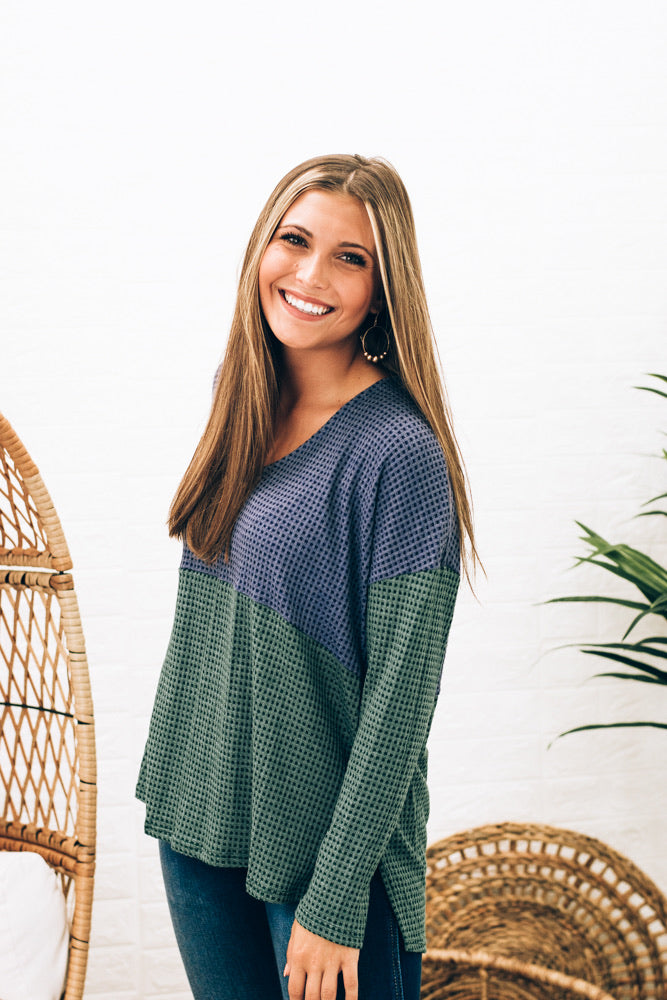 Casual Color Block Top, Blue/Teal