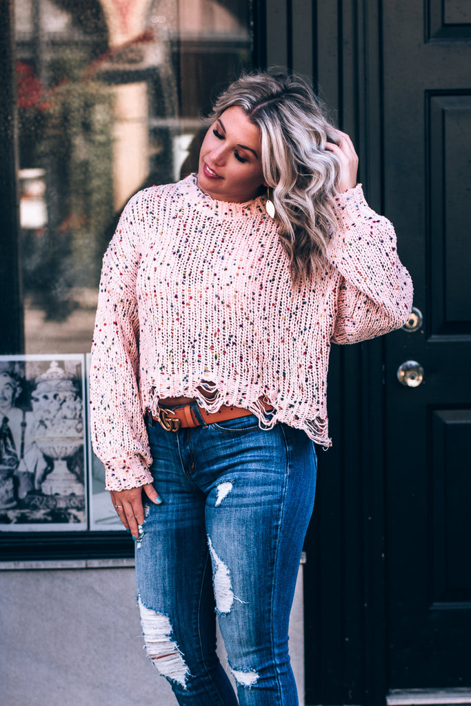 Throw Confetti Destroyed Sweater, Mauve
