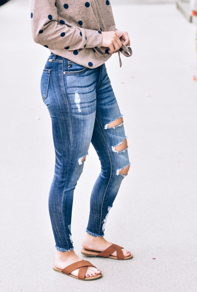 Taylor Distressed Mid-Rise Ankle Skinny Jean