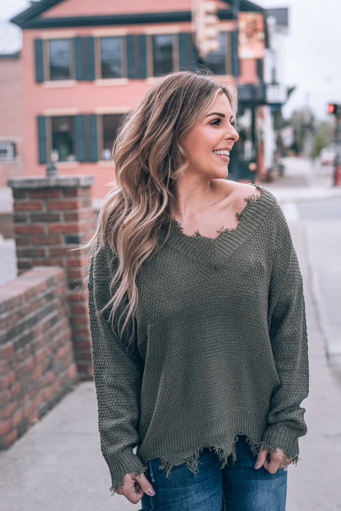Frayed Feelings Sweater, Olive