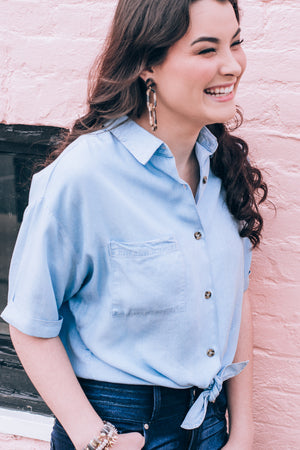 Chambray All Day Top , Chambray