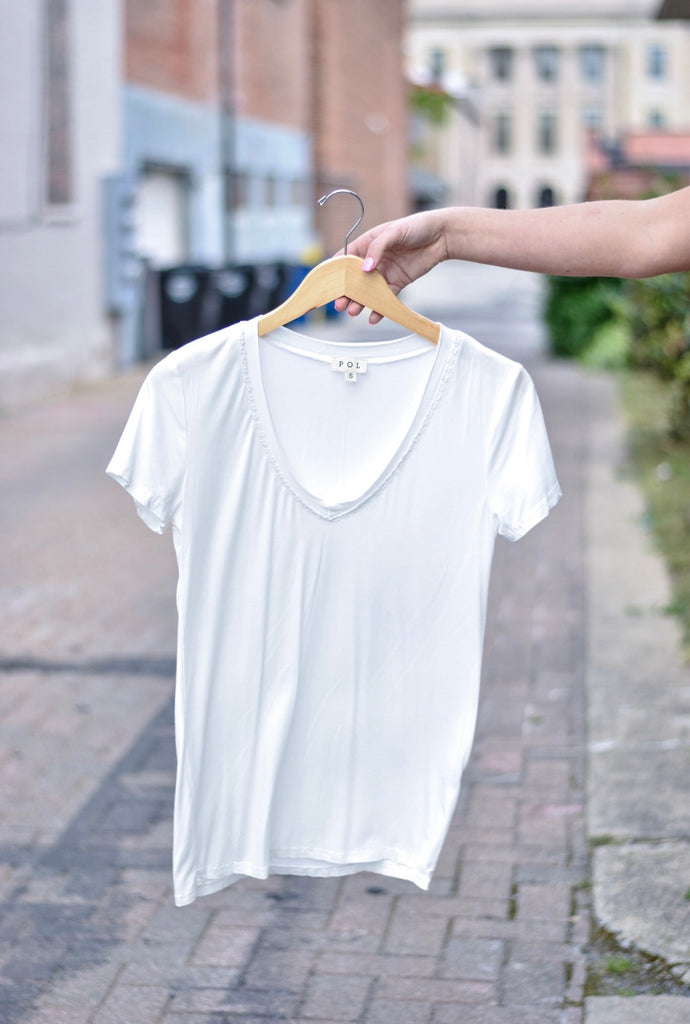 Washed V Neck Tee, White