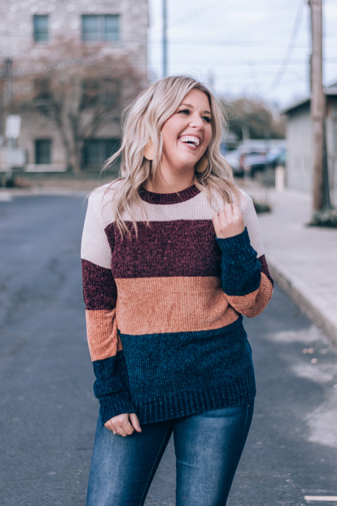 All Day Long Chenille Colorblock Sweater