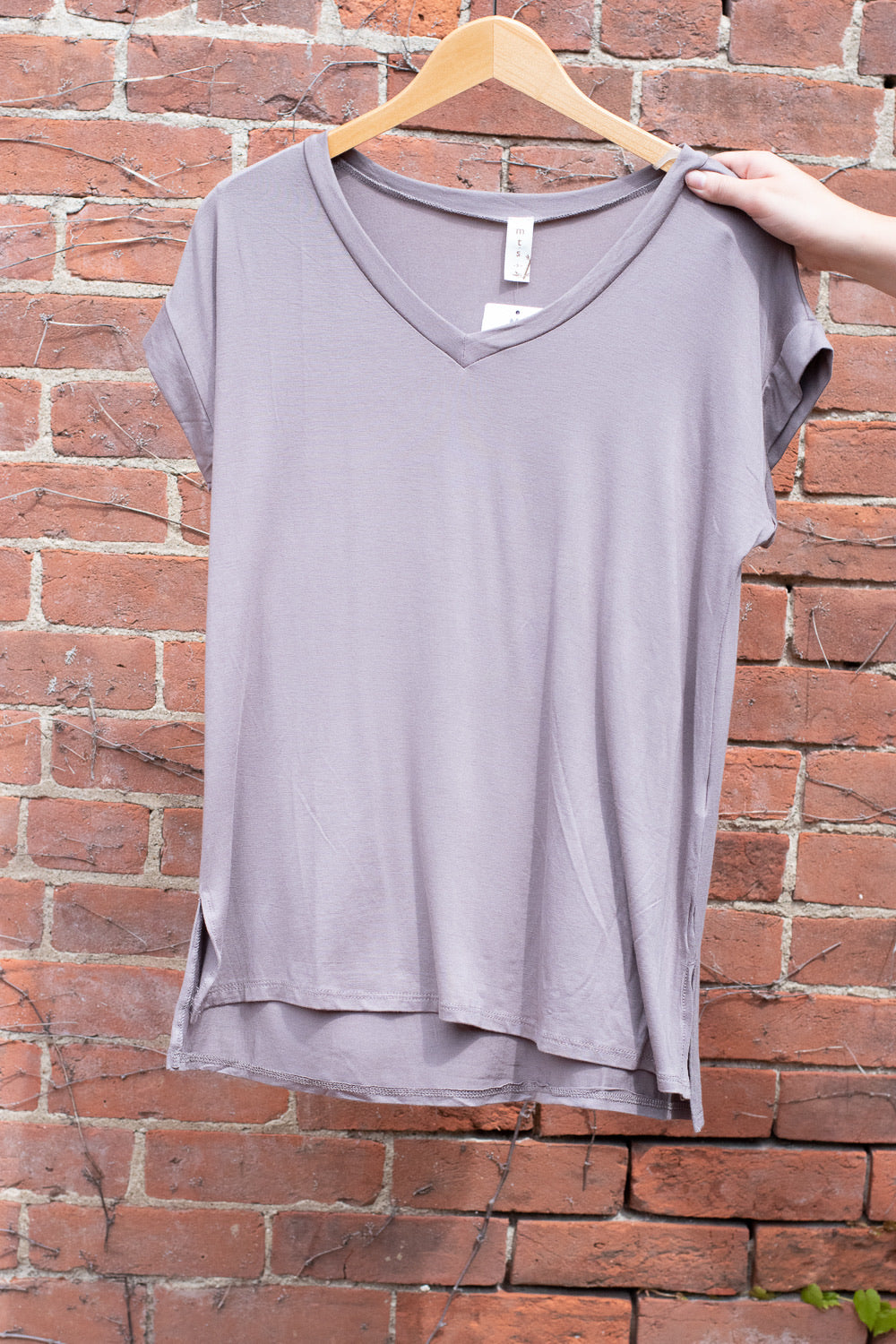 Bamboo V-Neck T-Shirt , smokey taupe