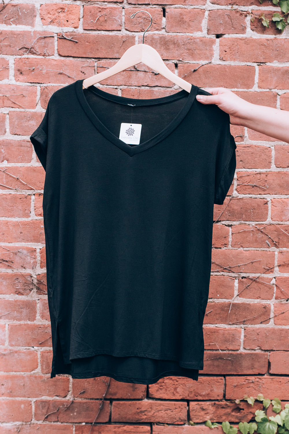 Bamboo V-Neck T-Shirt , black