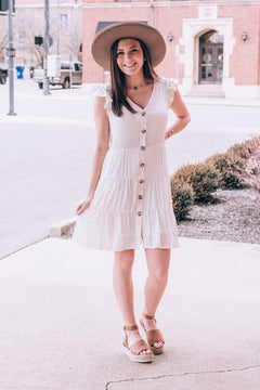 Dainty In Dots Tiered Dress , ivory