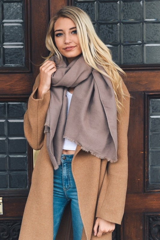 Fray All Day Blanket Scarf, Mocha