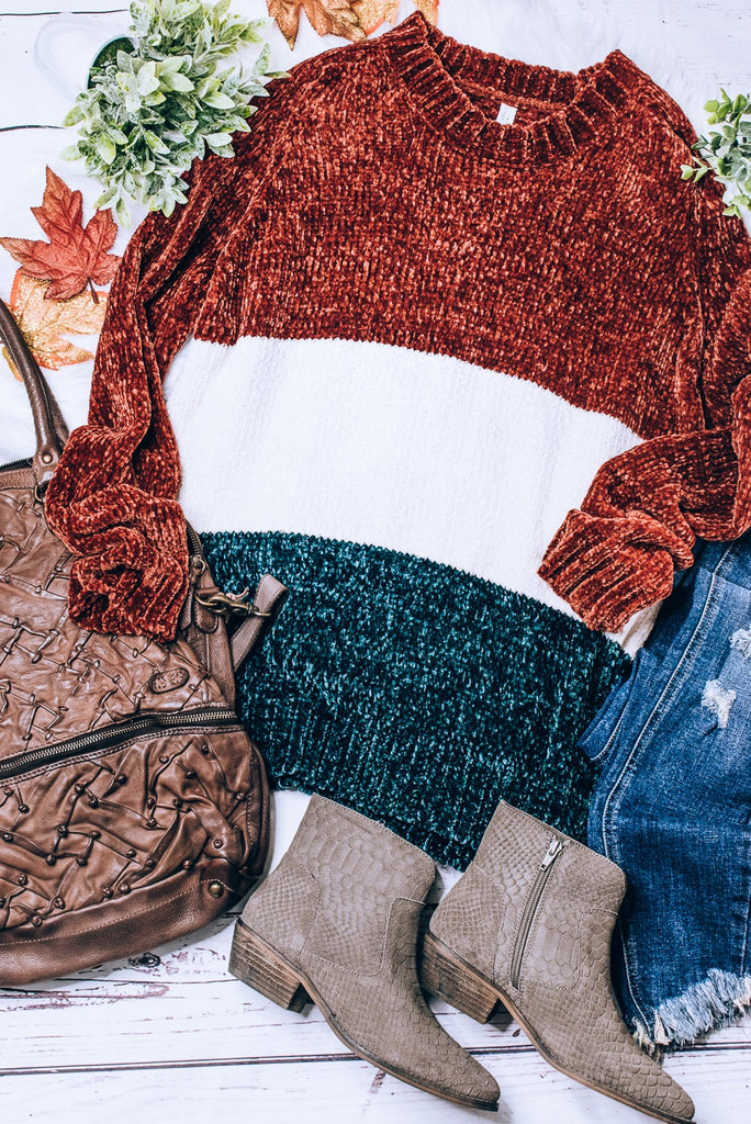 Irish You Were Mine Sweater, Rust/White/Olive