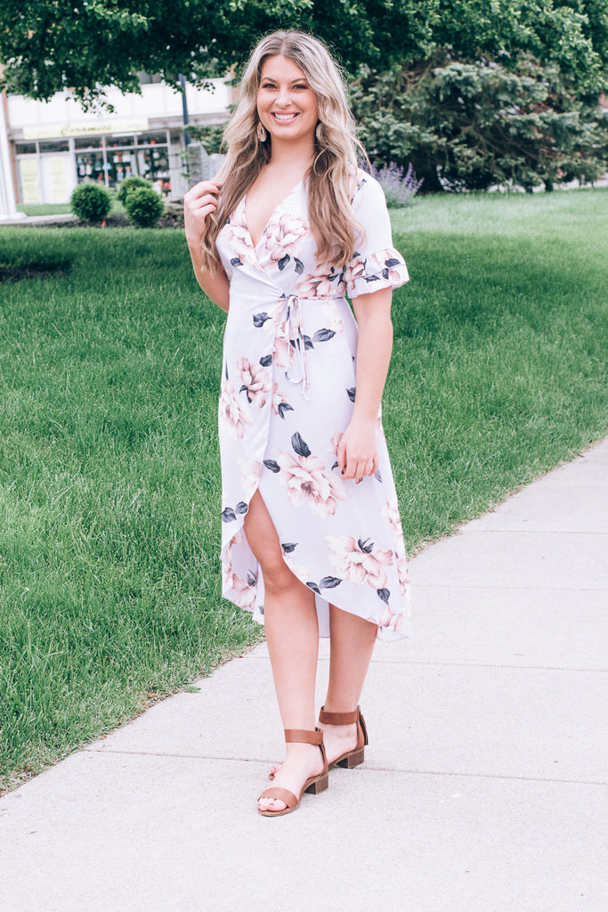 Floral Whispers Wrap Dress