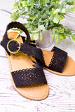 Scallop Asymmetrical Sandal , Black