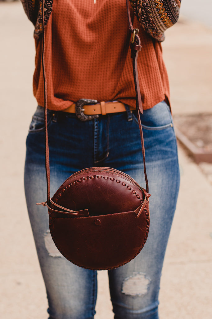Olivia Round Leather CrossBody, Brown