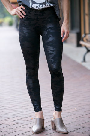Spanx Faux Leather Legging, Black Camo