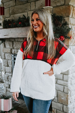The Coziest Plaid Pullover, Red/Black