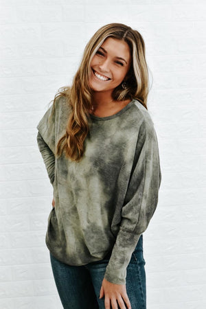 Demi Dolman Top, Olive