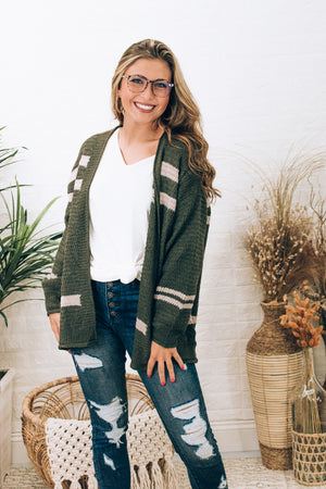 Tell Me About It Stripe Cardigan , Olive