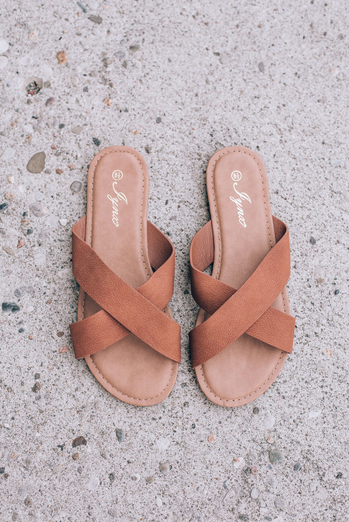 Daily Slide Sandals, Cognac