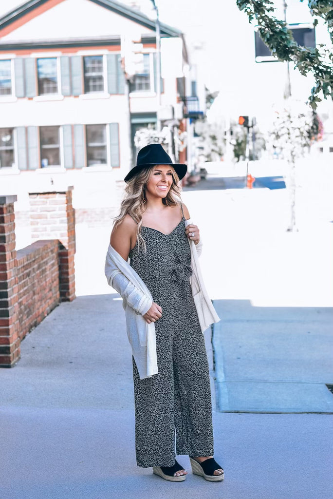 Black Leaves Tied Jumpsuit